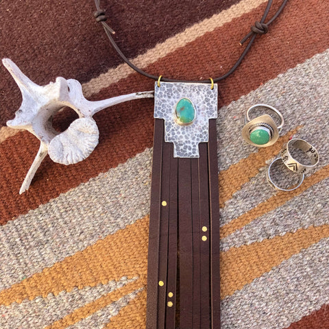 canyon bolo tie necklace silver turquoise leather