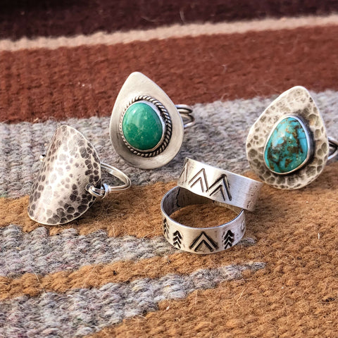 southwestern western bohemian turquoise silver ring