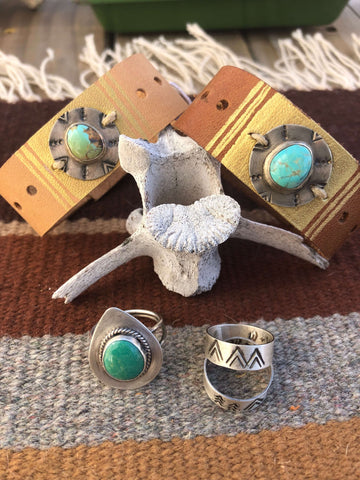 compass leather turquoise silver cuff bracelet southwest rings