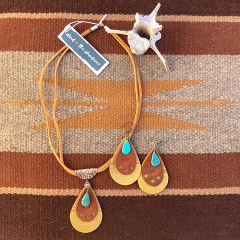 smith rock leather stamped turquoise teardrop earrings necklace