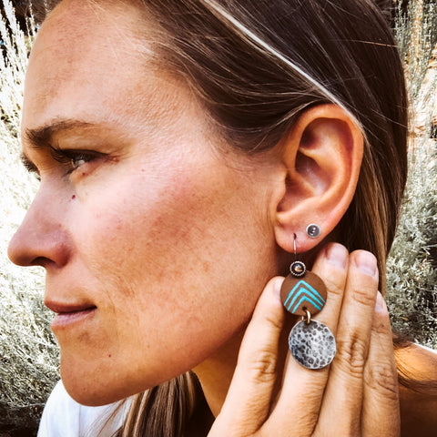 leather turquoise silver dangle earring