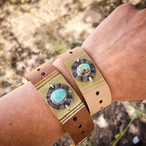compass leather turquoise silver cuff bracelet