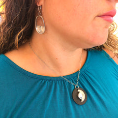 white buffalo turquoise black leather sterling silver necklace