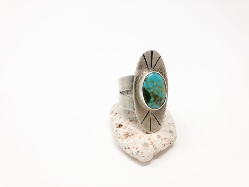 Mountain Rays Turquoise + Silver Ring - No. 2