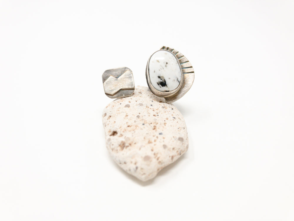 White Buffalo Turquoise + Mountain Gap Silver Ring