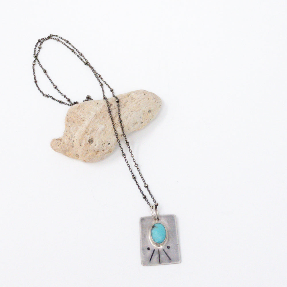 Turquoise Rays Silver Necklace - No. 1