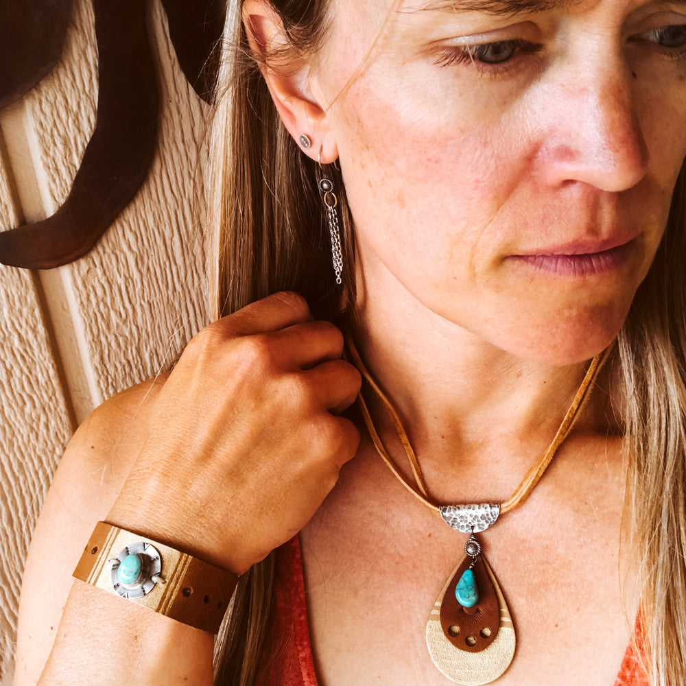Smith Rock Turquoise + Leather Necklace