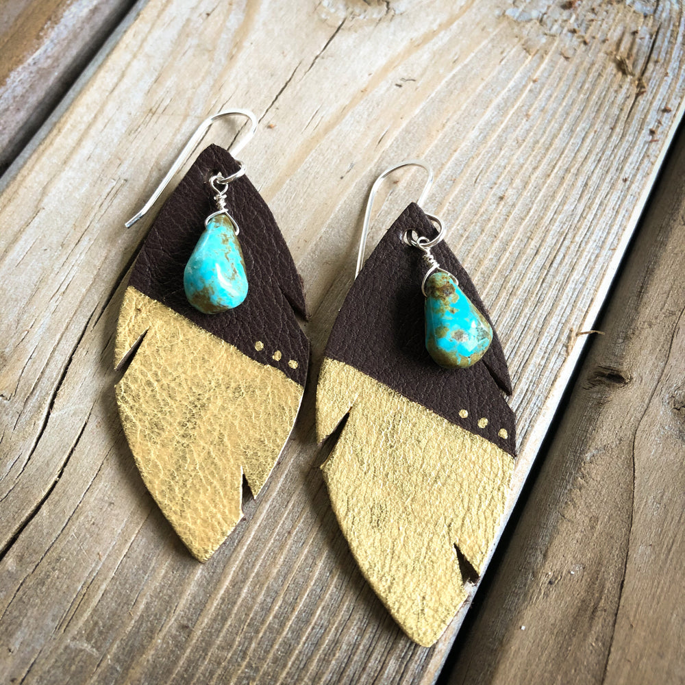 Turquoise + Feather Earrings - Dark Brown