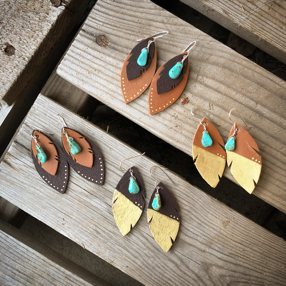 Layered Feather Earrings - Dark Brown