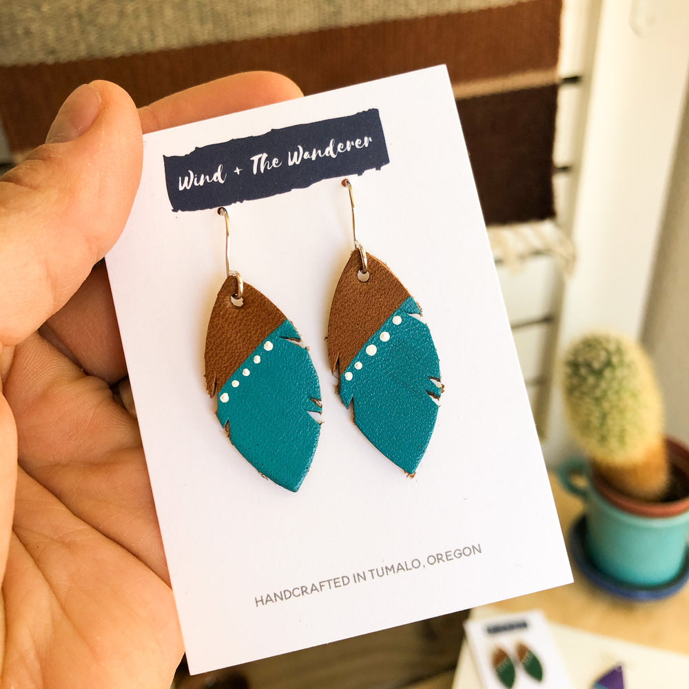 Little Feather Leather Earrings - Turquoise