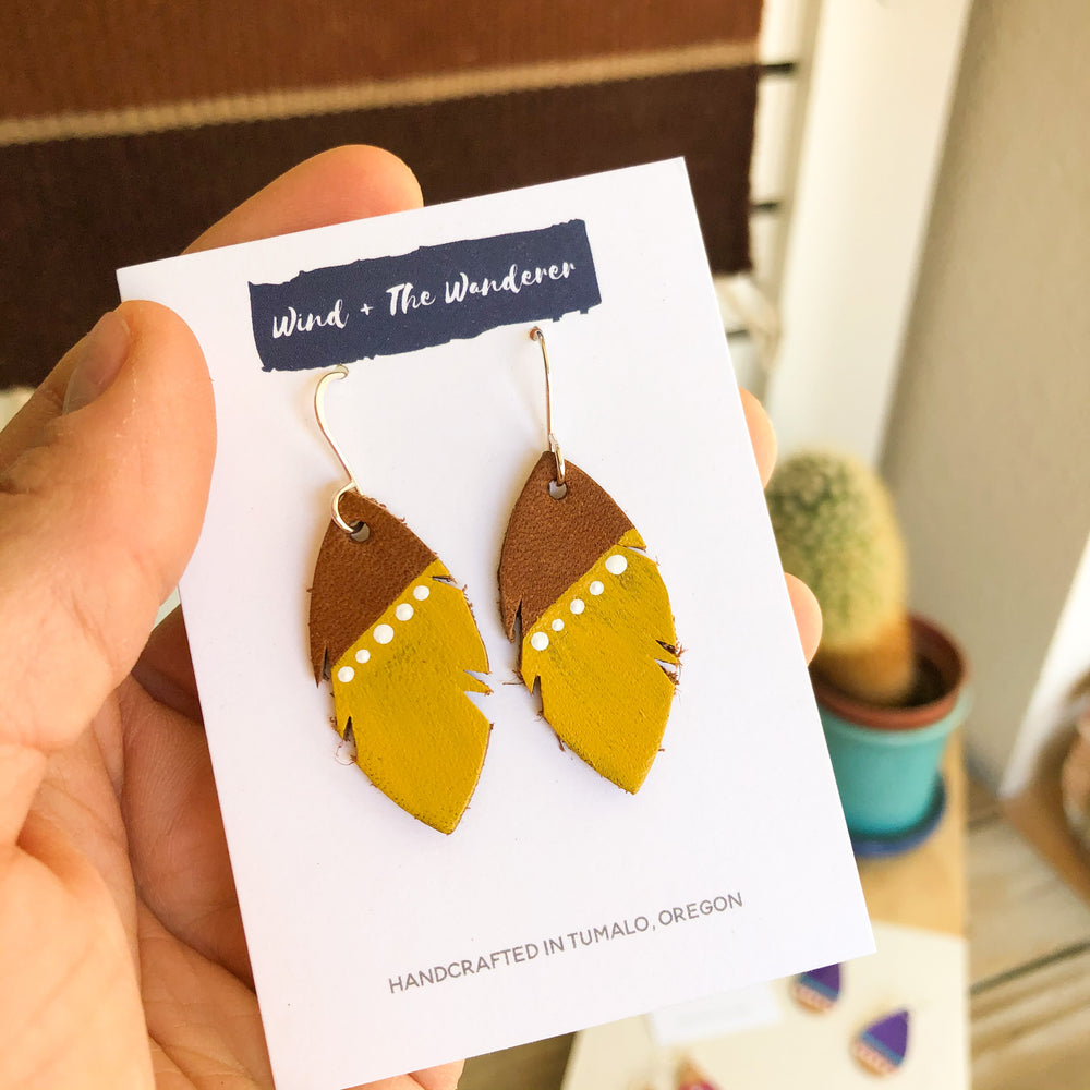 Little Feather Leather Earrings - Mustard