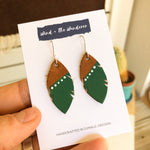 Little Feather Leather Earrings - Forest Green