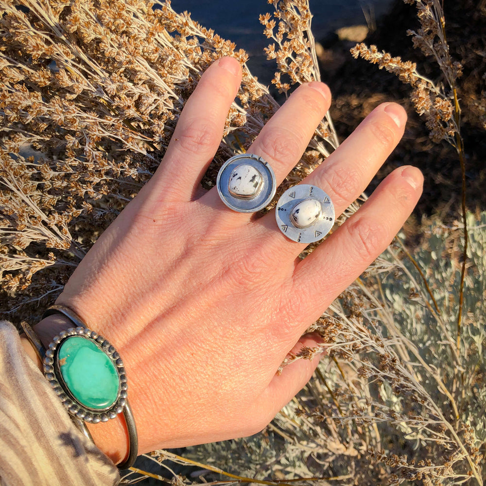 Compass White Buffalo Turquoise + Silver Ring