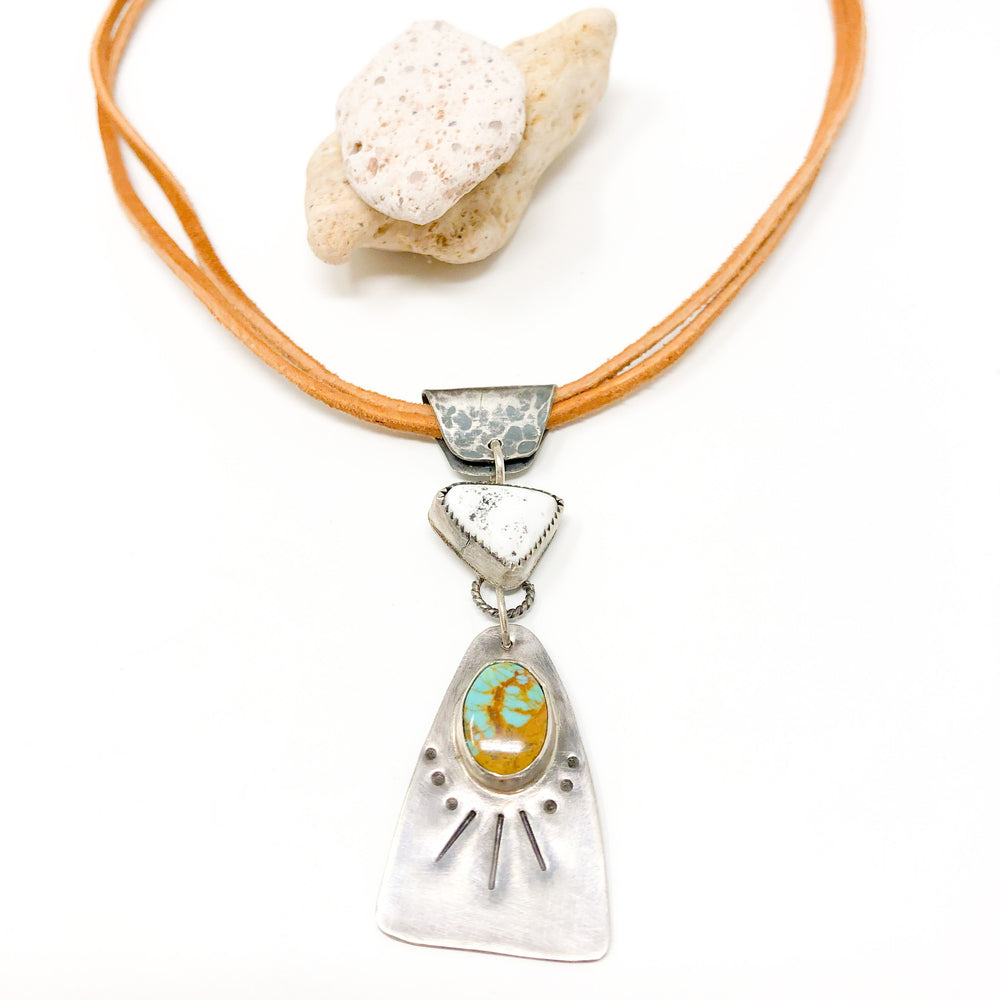 White Buffalo + Turquoise Western Necklace