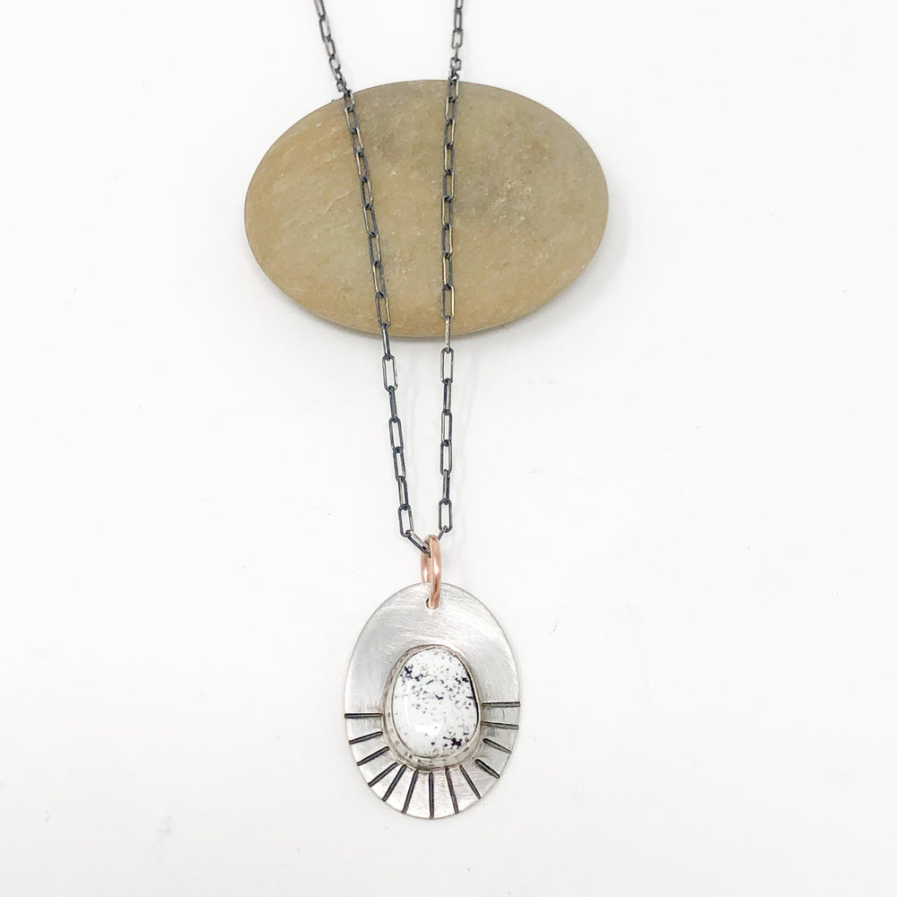 White Buffalo Turquoise Rays Silver Necklace - No. 1