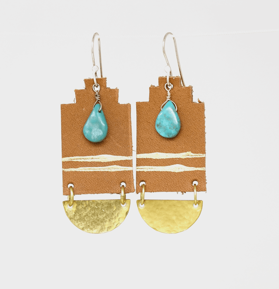 brown leather brass turquoise dangle earring