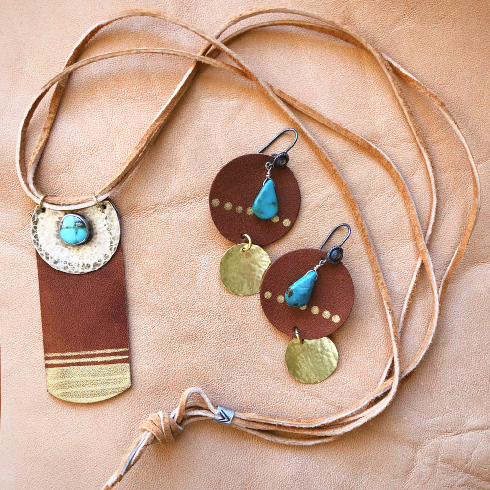 burnt orange leather earrings necklace turquoise silver