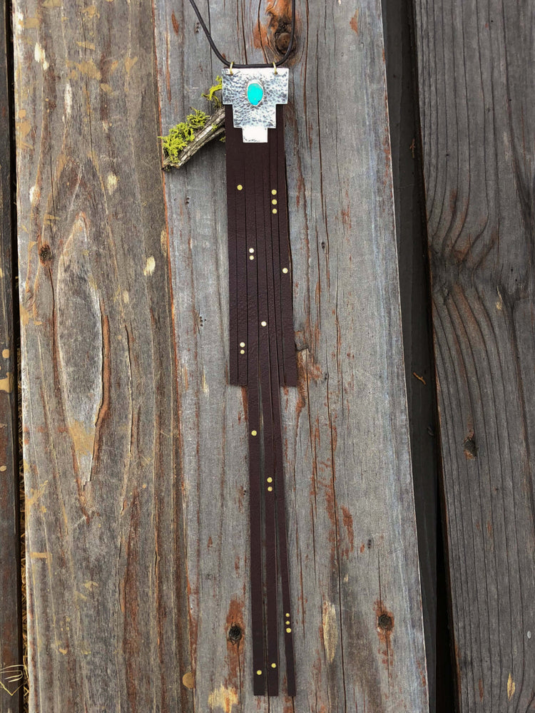 Canyon Silhouette Turquoise + Silver Bolo - Chocolate Brown