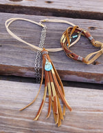 Golden Fringe + Turquoise Necklace