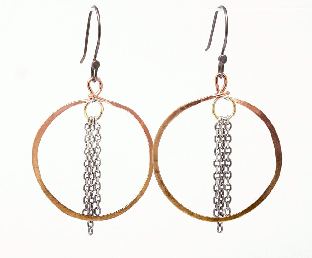 single brass hoop with fringe
