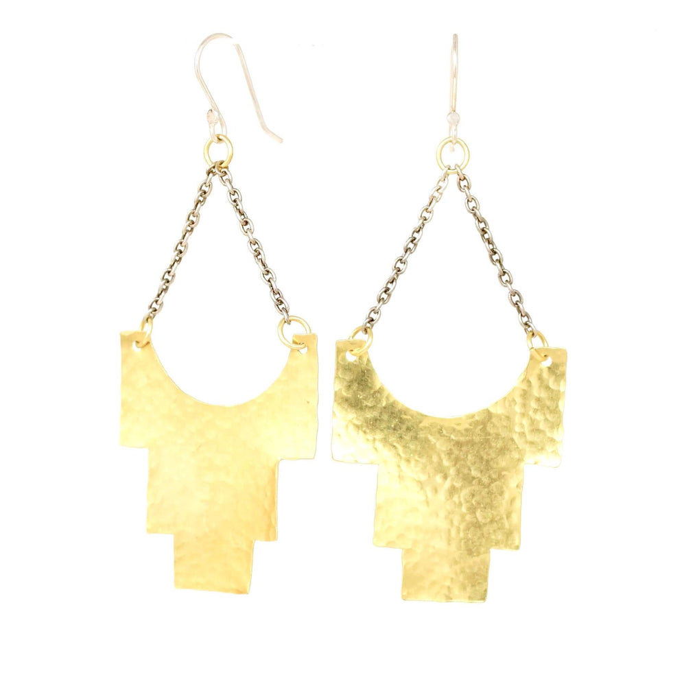 gold brass dangle earrings