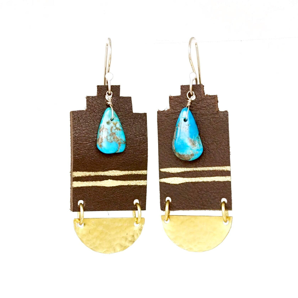 dark brown earrings with brass and turquoise