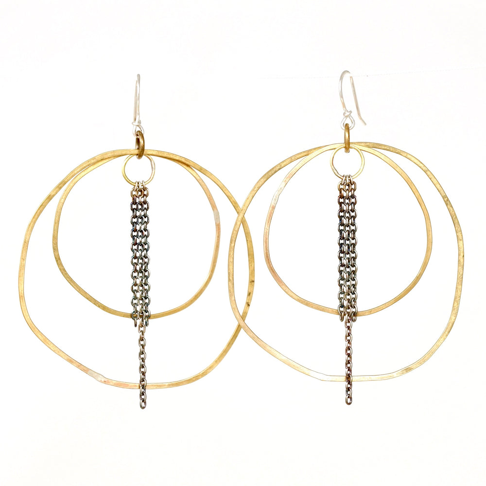 hammered tri-layer hoops with fringe