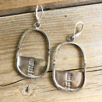 Stamped Hoop Earrings - Oval