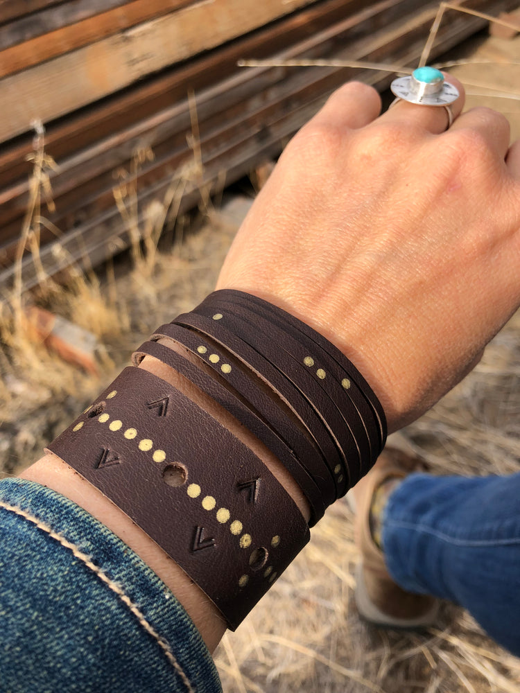 Constellation Leather Single-Wrap Cuff Bracelet