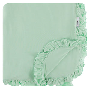 Solid Ruffle Double Layer Throw Blanket