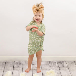 GREEN DAISIES BOXY DRESS
