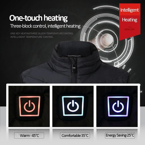 Image of Rechargeable Heated Vest. Comes in Two Colors: BLUE and BLACK