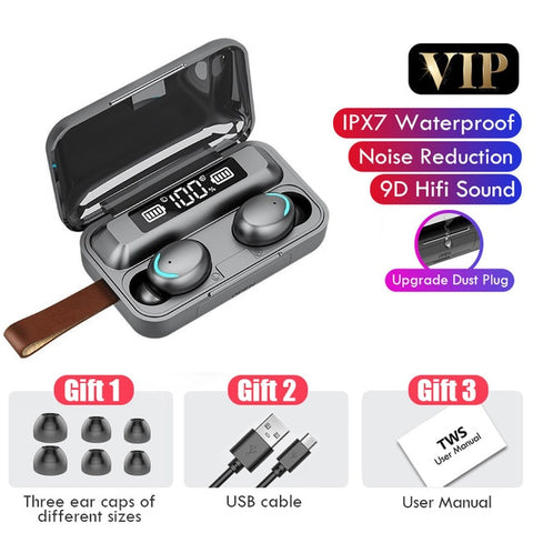 Image of Wireless Waterproof Bluetooth Earphones with 2200  mAh Charging Box