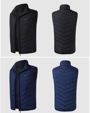Rechargeable Heated Vest. Comes in Two Colors: BLUE and BLACK