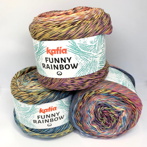 Katia Funny Rainbow Multi-coloured 100% Cotton yarn Group of 3