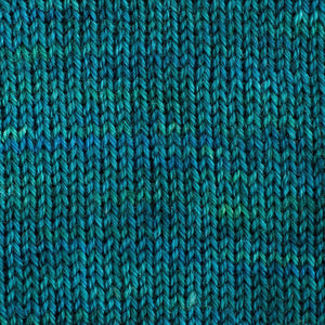 Sweet Georgia Flaxen Silk Fine, Knitted swatch in Fizzy Water