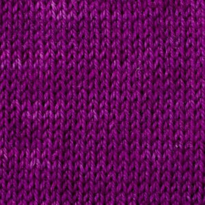Sweet Georgia Flaxen Silk Fine, Knitted swatch in Grape Jelly