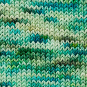 Sweet Georgia Flaxen Silk Fine, Knitted swatch in Seedling
