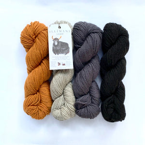 Illimani's Santi Yarn, 4 full skeins in Greys and Orange