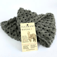 Load image into Gallery viewer, Classic Snood by Erika Knight crocheted in Illimani Royal 1 Grey