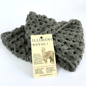 Classic Snood by Erika Knight crocheted in Illimani Royal 1 Grey