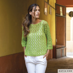 Katia Panama 100% Cotton Yarn, example of a crocheted ladies' sweater