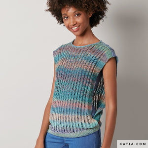 Katia Funny Rainbow Yarn, Knitted top, Free Pattern