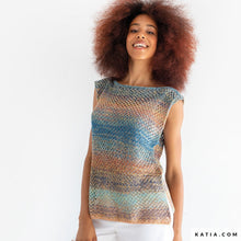 Load image into Gallery viewer, Katia Funny Rainbow Yarn, Knitted top, Free Pattern