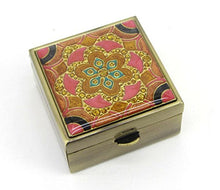 Load image into Gallery viewer, Pink lotus bloom pill box made of brass