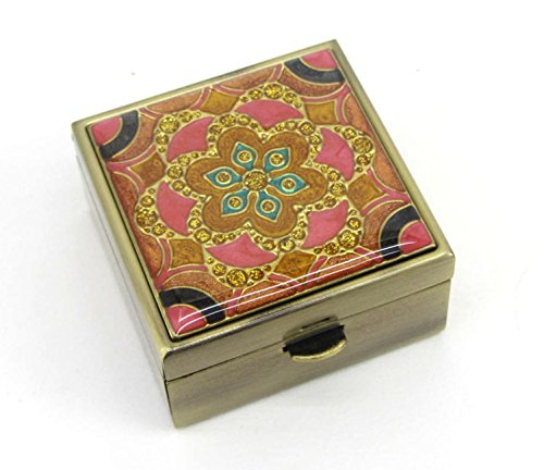 Pink lotus bloom pill box made of brass