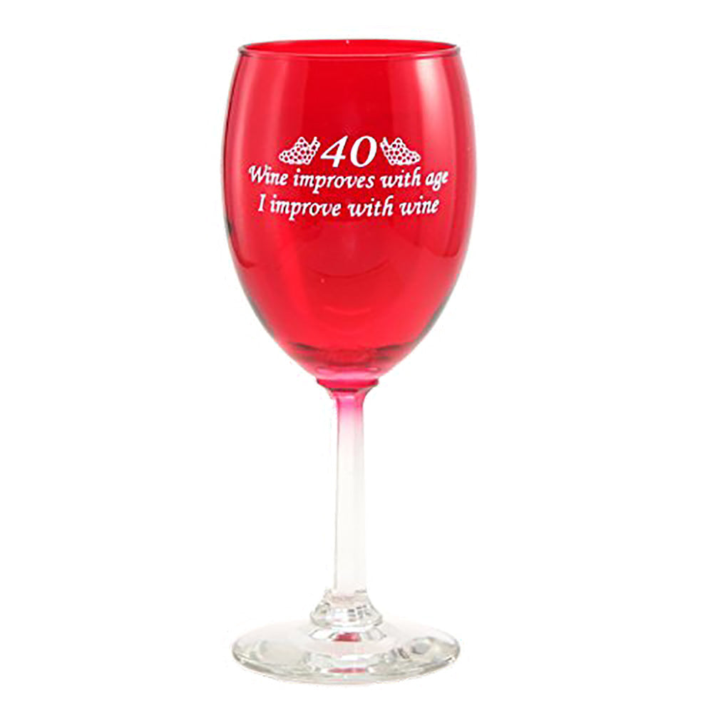 Red 40th birthday wine glass for women or men reads wine improves with age - I improve with wine