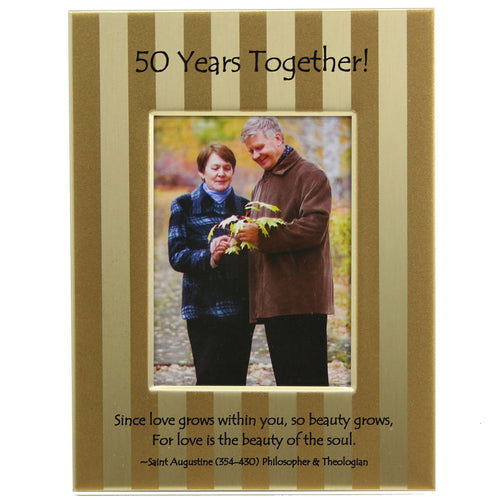 50th anniversary frame has a modern brushed gold strip design and reads 50 years together