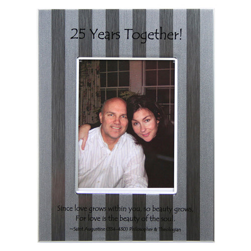 25th Anniversary Frame with brushed silver stripe design