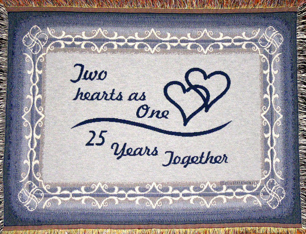 25th anniversary sofa throw reads two hearts as one - 25 years together